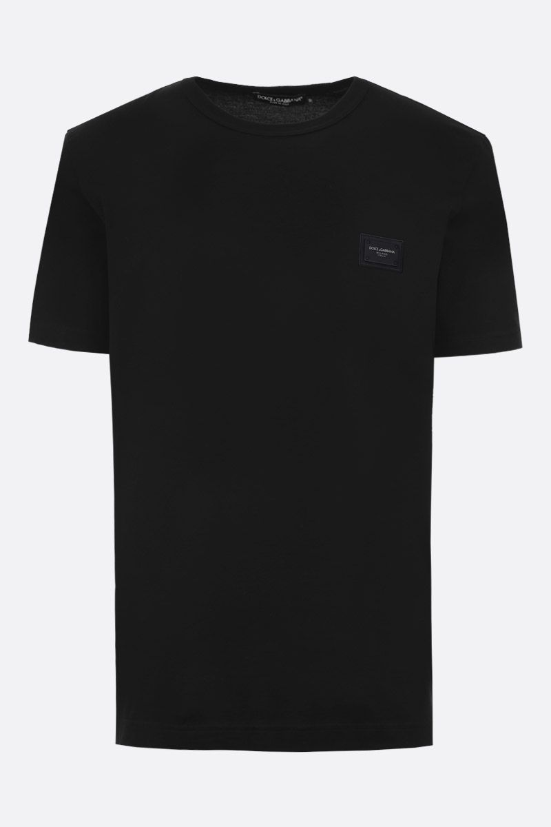 DOLCE & GABBANA: jersey t-shirt with logo plaque Color Black_1