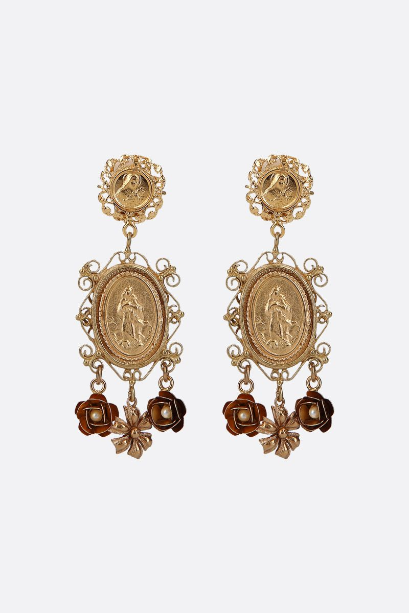 DOLCE & GABBANA: crystal-embellished brass drop earrings Color Gold_1