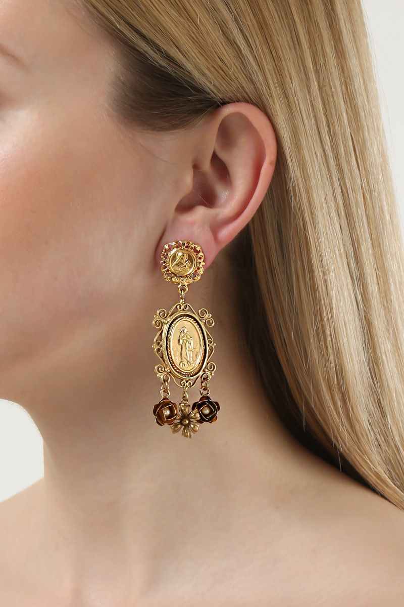 DOLCE & GABBANA: crystal-embellished brass drop earrings Color Gold_2