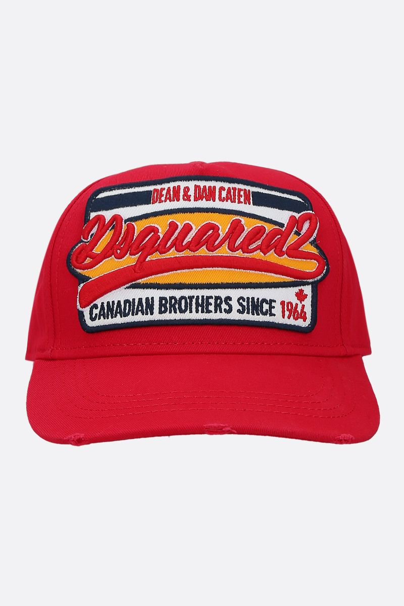 DSQUARED2: logo patch canvas baseball cap Color Red_1