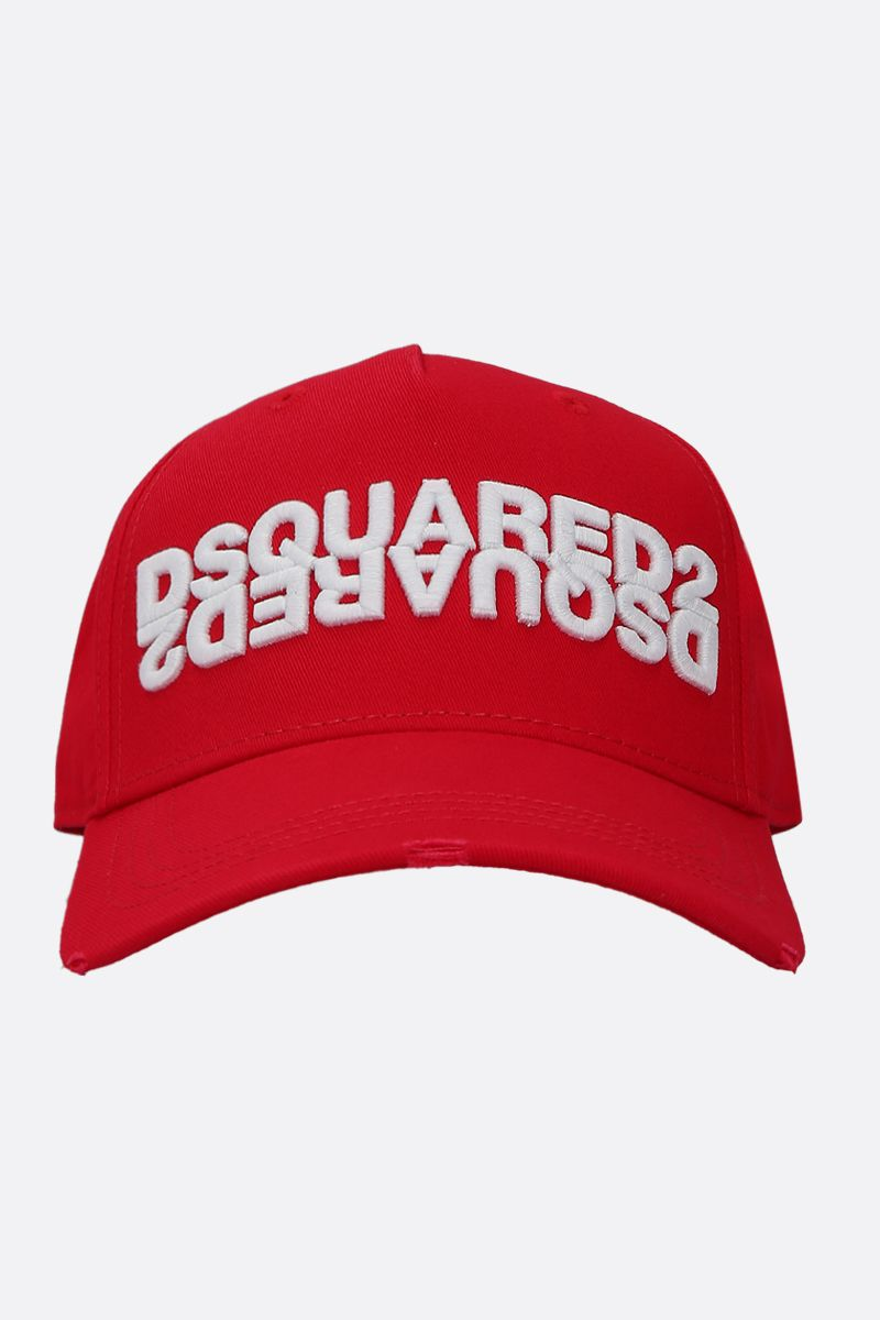 DSQUARED2: Dsquared2 embroidered gabardine baseball cap Color Red_1