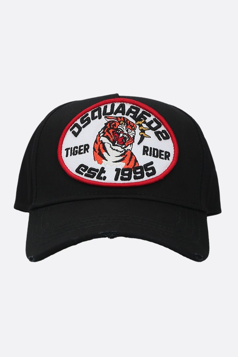 DSQUARED2: Tiger Rider patch canvas baseball cap Color Black_1