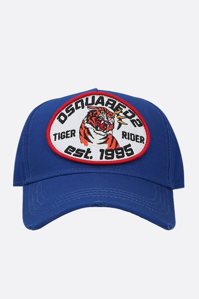 DSQUARED2: Tiger Rider patch canvas baseball cap Color Blue_1