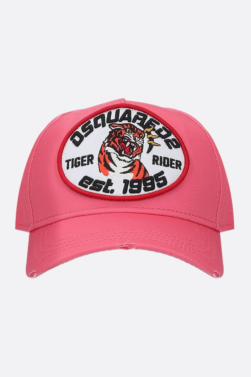 DSQUARED2: Tiger Rider patch canvas baseball cap Color Pink_1