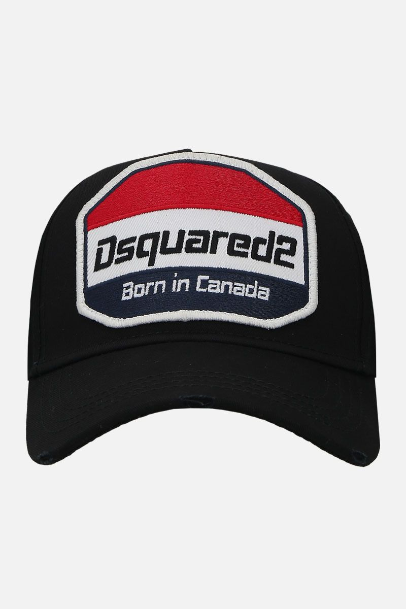 DSQUARED2: logo patch canvas baseball cap Color Black_1