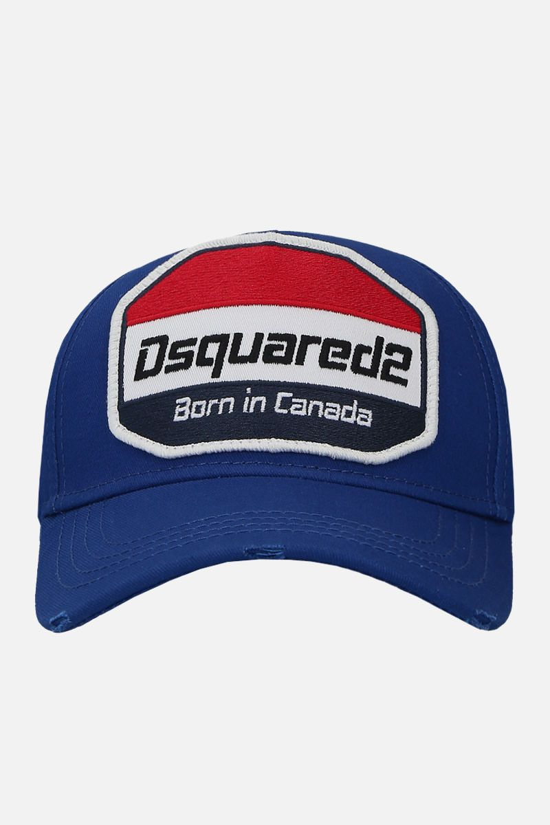 DSQUARED2: logo patch canvas baseball cap Color Blue_1