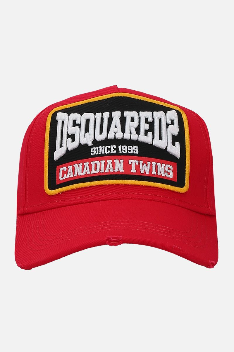 DSQUARED2: Canadian Twins patch canvas baseball cap Color Red_1