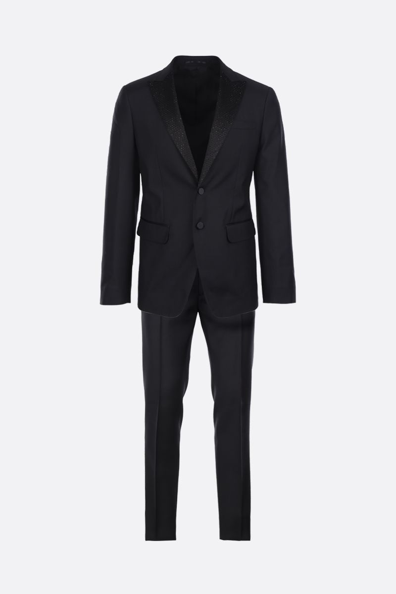 DSQUARED2: rhinestones-embellished wool silk blend two-piece suit Color Black_1