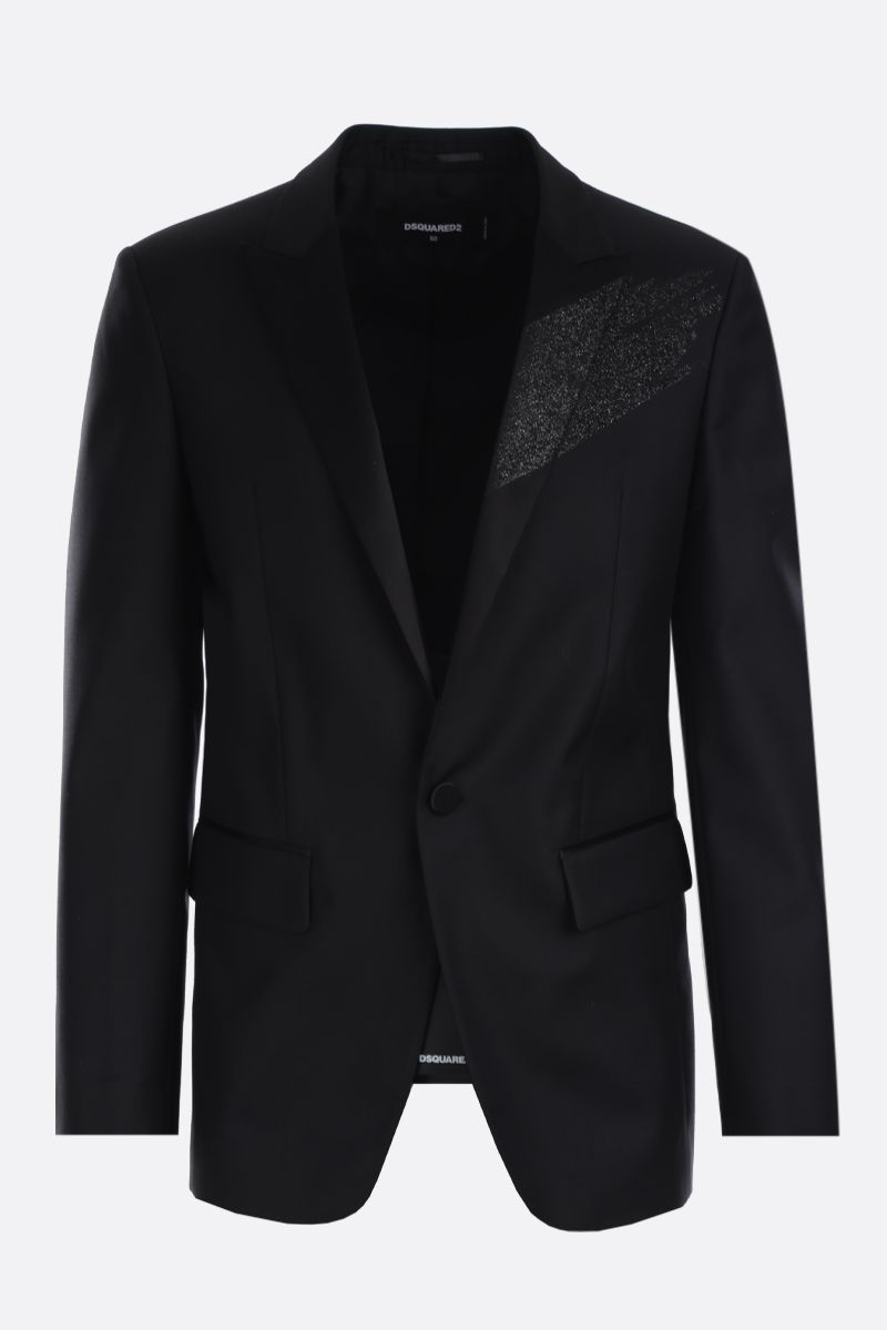 DSQUARED2: wool silk blend texudo jacket Color Black_1