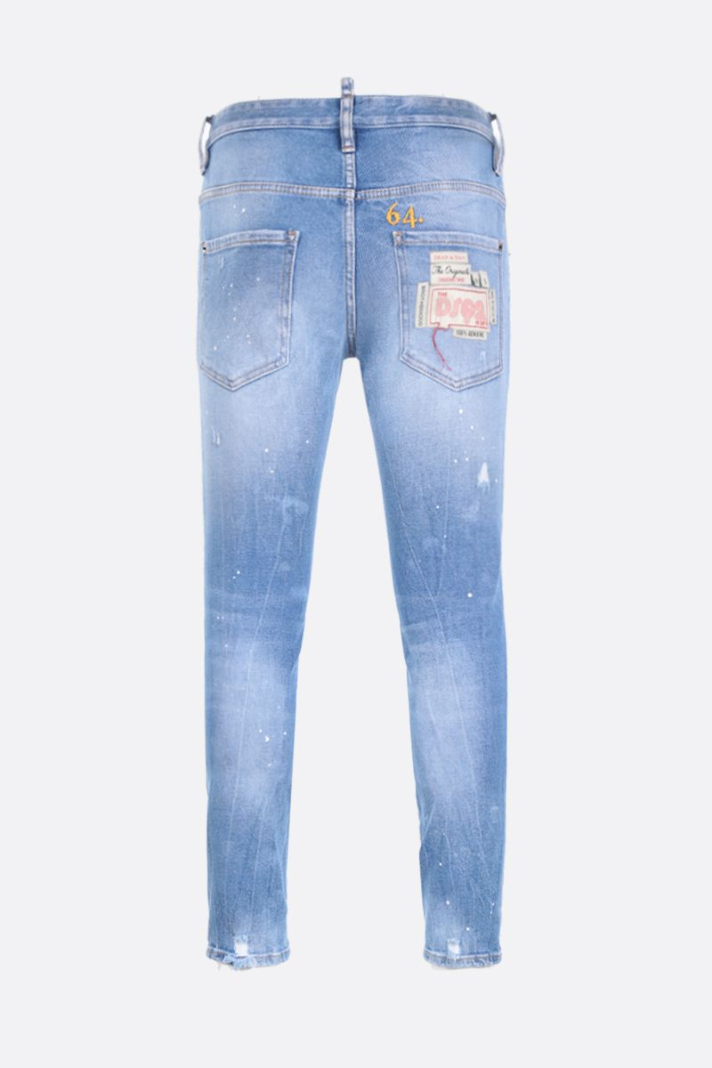 DSQUARED2: Skater jeans with 64. embroidery Color Blue_2
