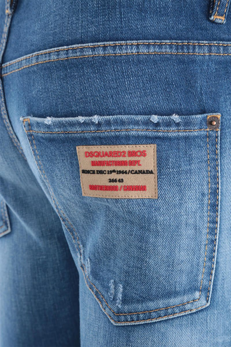 DSQUARED2: Skater jeans with logo patches Color Blue_3