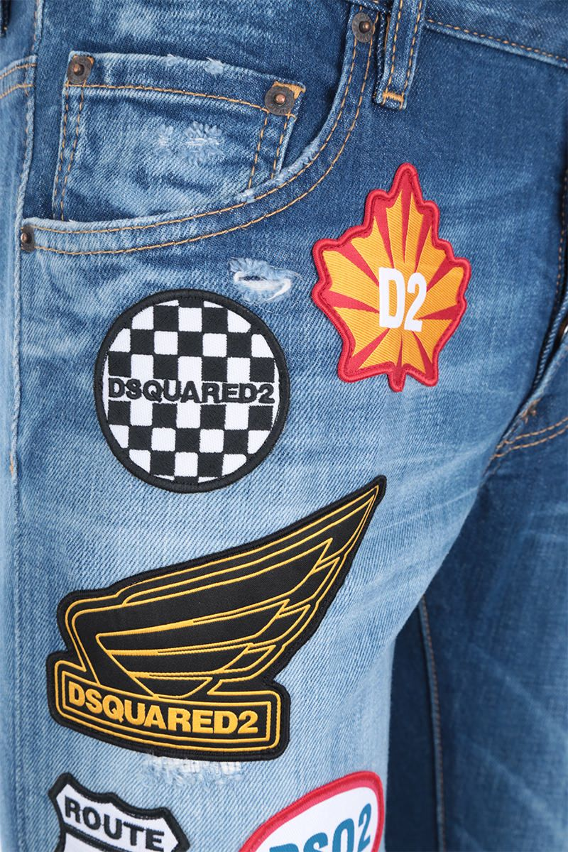 DSQUARED2: Skater jeans with logo patches Color Blue_4