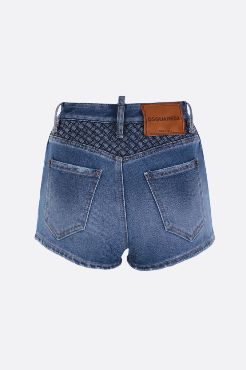 DSQUARED2: pantalone corto in denim stretch Colore Blu_2