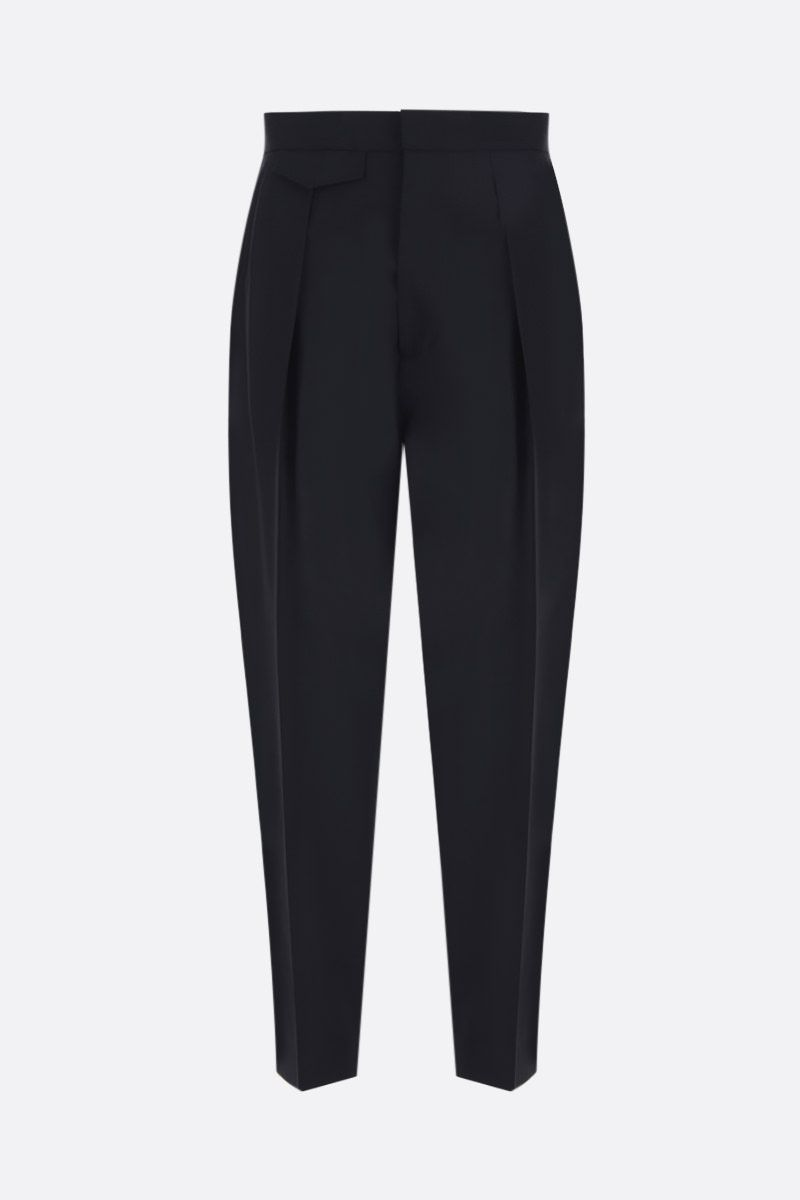 DSQUARED2: stretch wool darted pants Color Black_1
