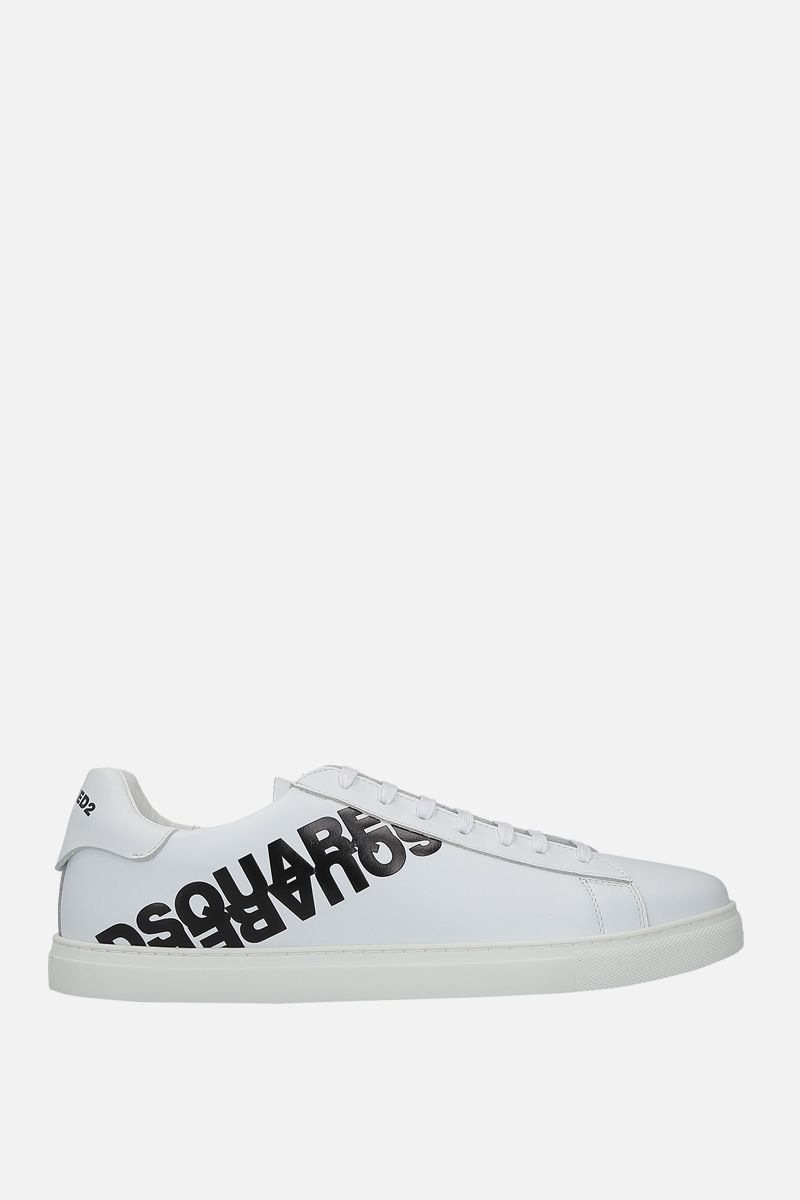 DSQUARED2: logo print smooth leather low-top sneakers Color White_1