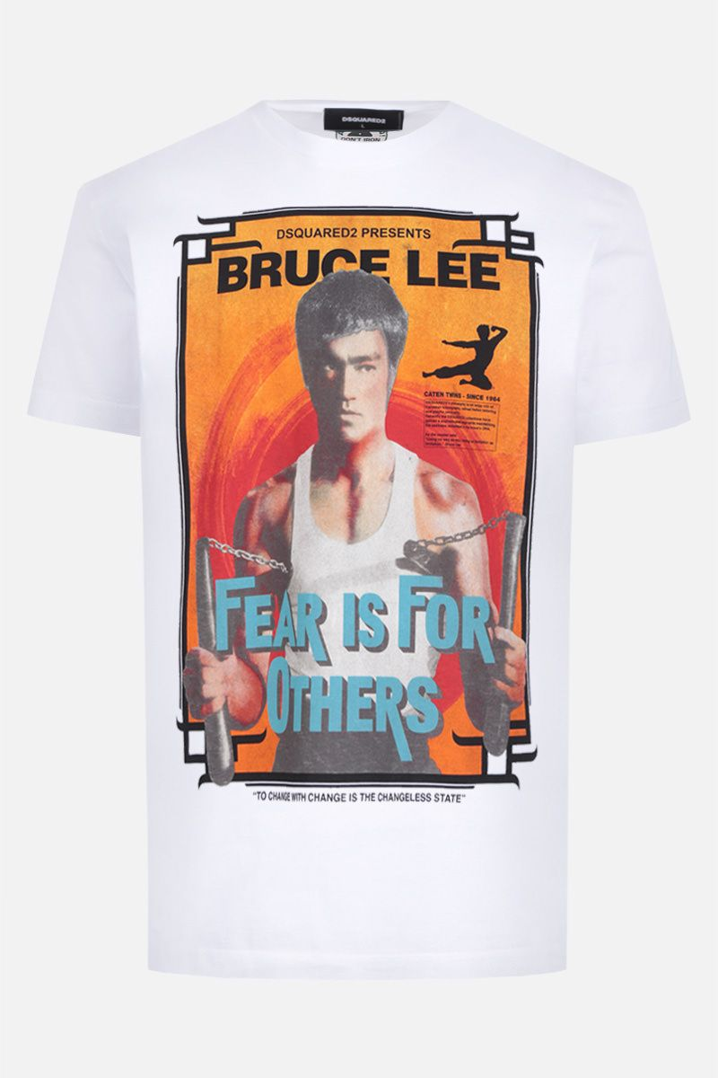 DSQUARED2: t-shirt in cotone stampa Bruce Lee Colore Bianco_1