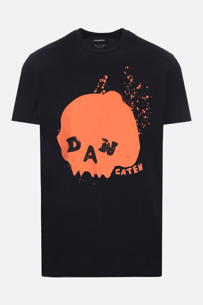 DSQUARED2: Dan Caten print cotton t-shirt Color Black_1