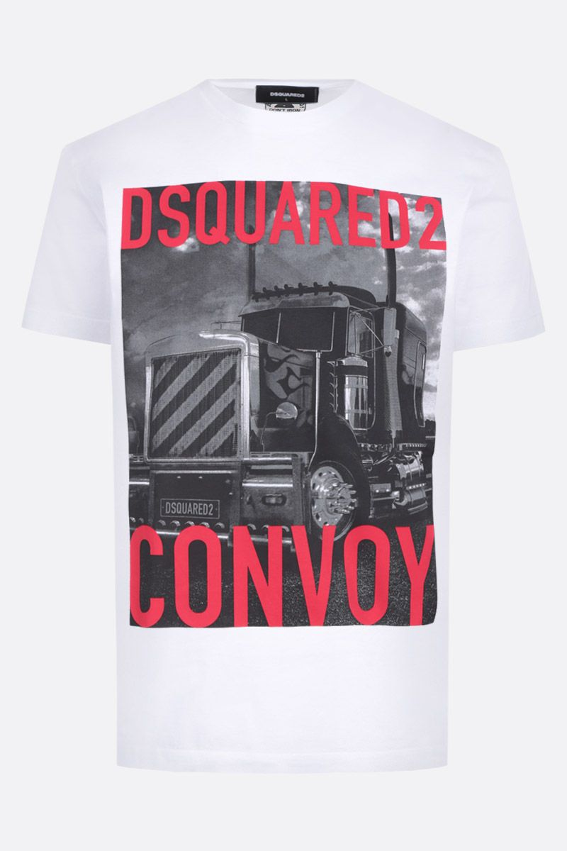 DSQUARED2: t-shirt in cotone stampa Dsquared2 Convoy Colore Bianco_1