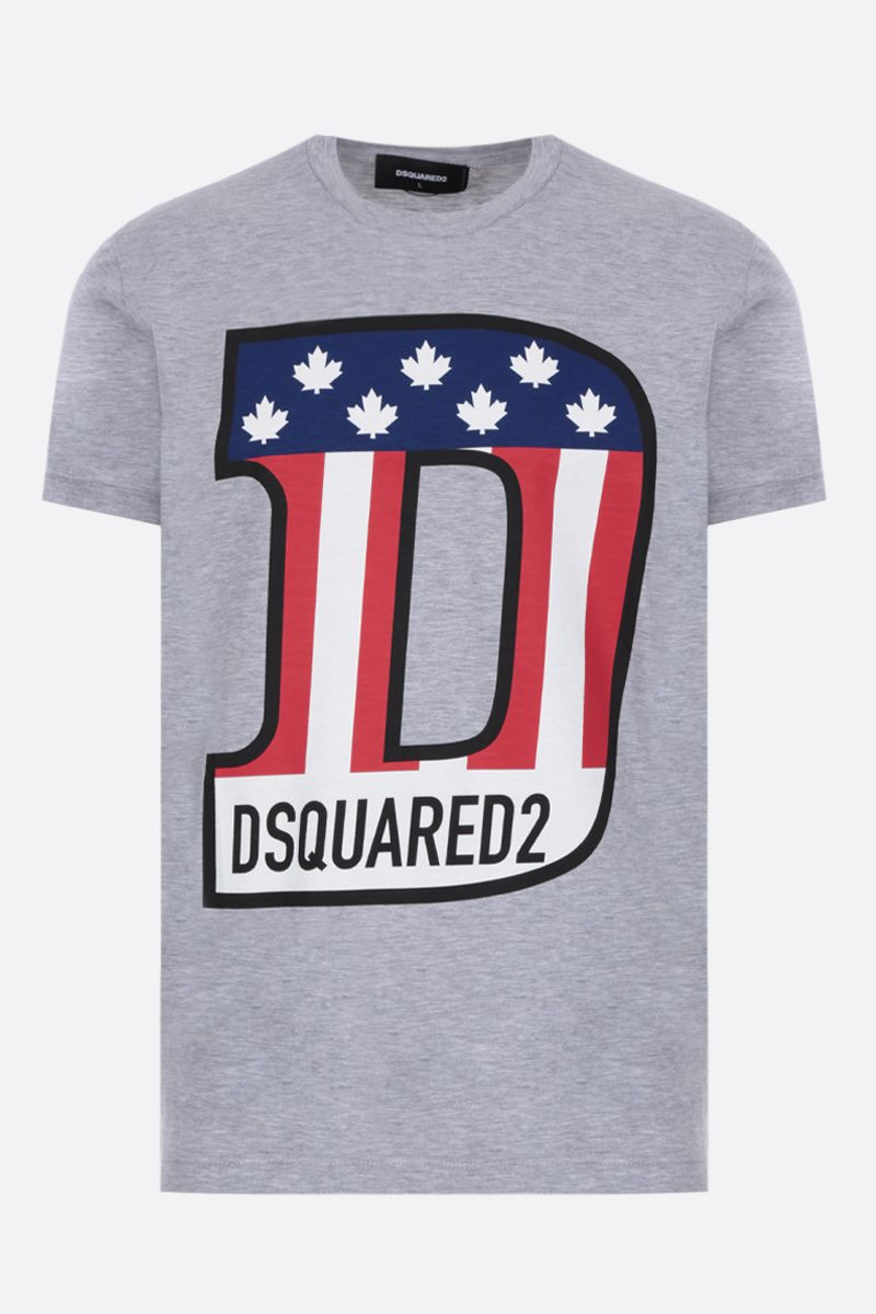 DSQUARED2: t-shirt in jersey stampa logo Colore Grigio_1