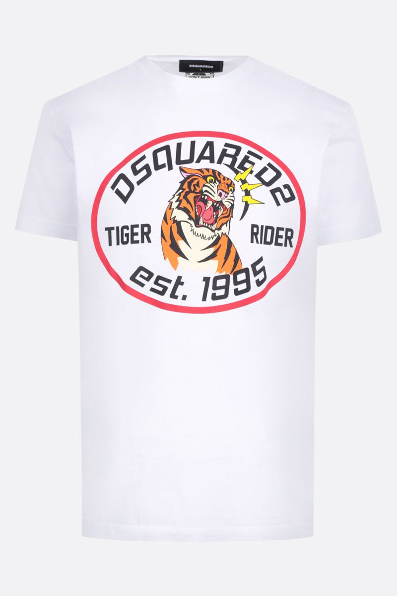 DSQUARED2: Tiger Rider print cotton t-shirt Color White_1
