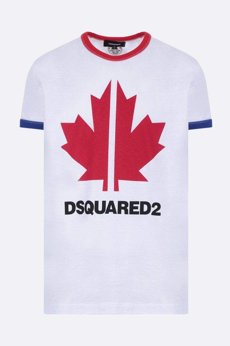 DSQUARED2: Canadian Leaf print cotton t-shirt Color White_1