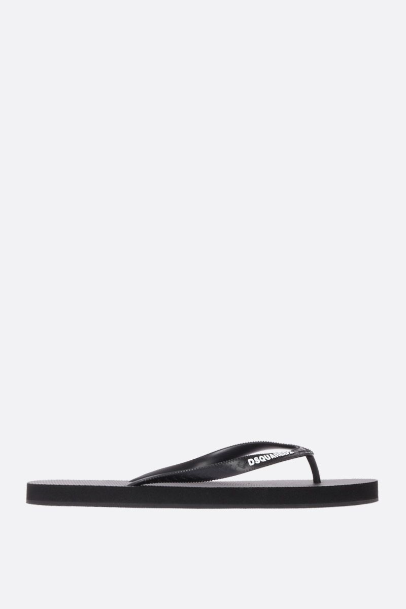 DSQUARED2: Dsquared2 print rubber thong sandals Color Black_1