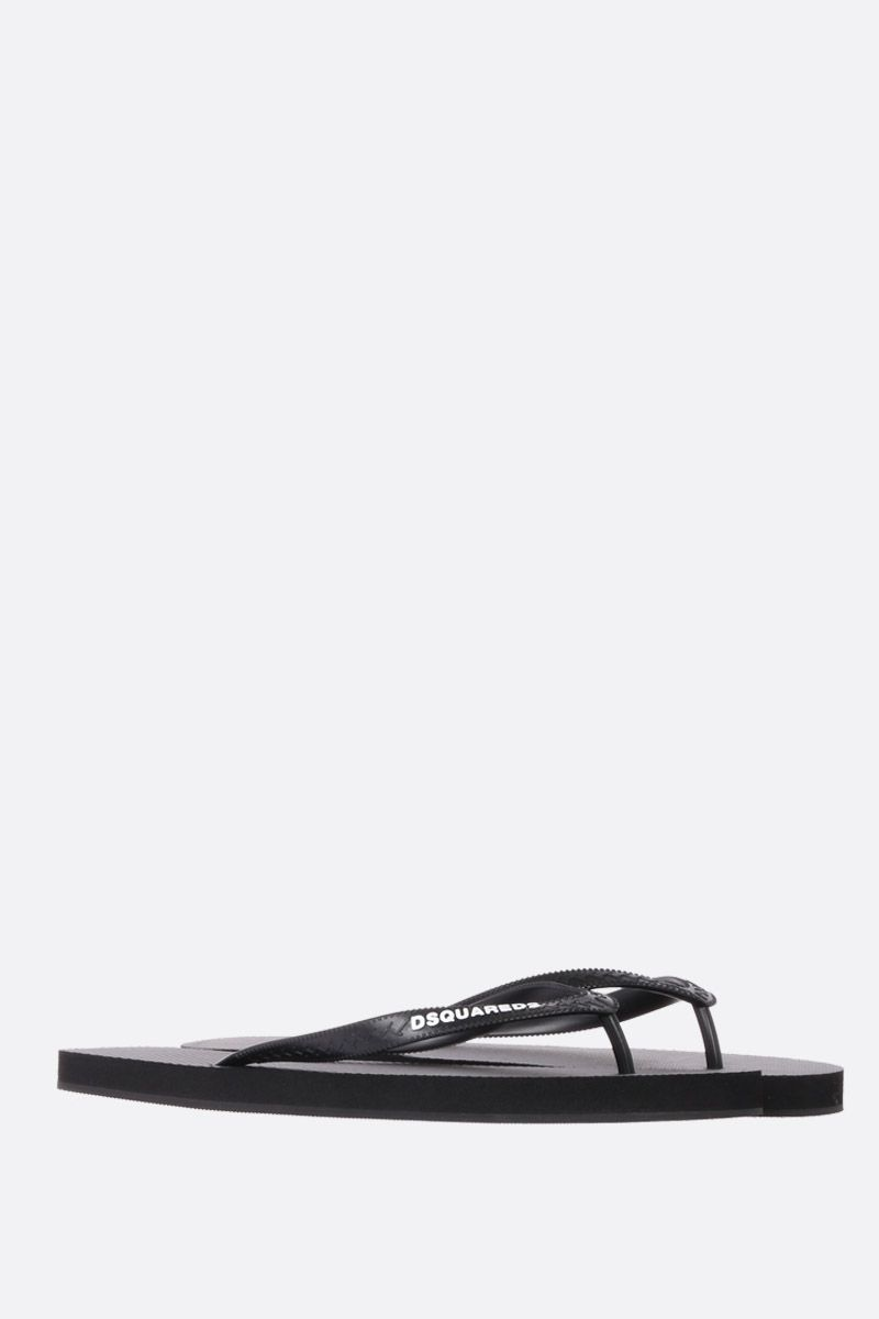 DSQUARED2: Dsquared2 print rubber thong sandals Color Black_2