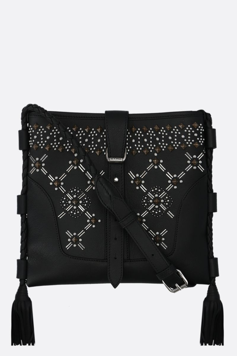 ETRO: Eivissa studded leather crossbody bag Color Black_1