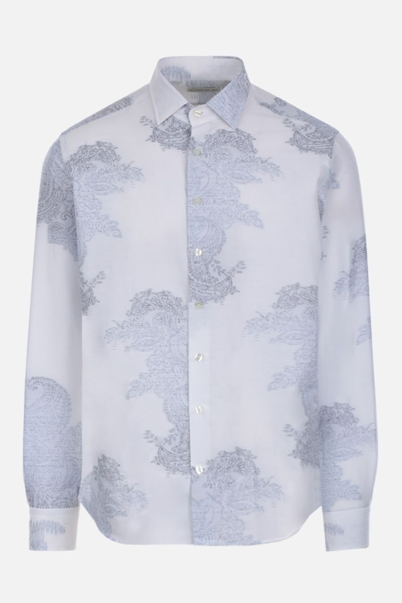 ETRO: Paisley embroidered cotton silk blend shirt Color White_1