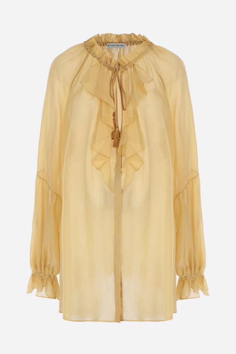 ETRO: ruffle-detailed cotton and silk blend shirt_1
