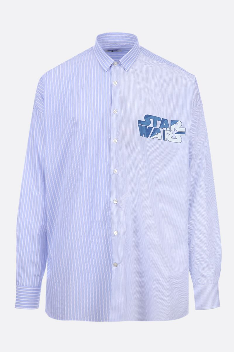 ETRO: ETRO X STAR WARS shirt in striped poplin Color Blue_1