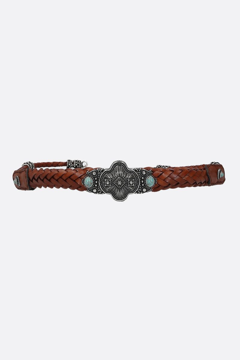ETRO: jewel buckle-detailed woven leather belt Color Multicolor_1