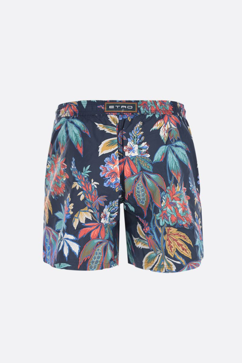 ETRO: floral printed nylon swim shorts Color Blue_2