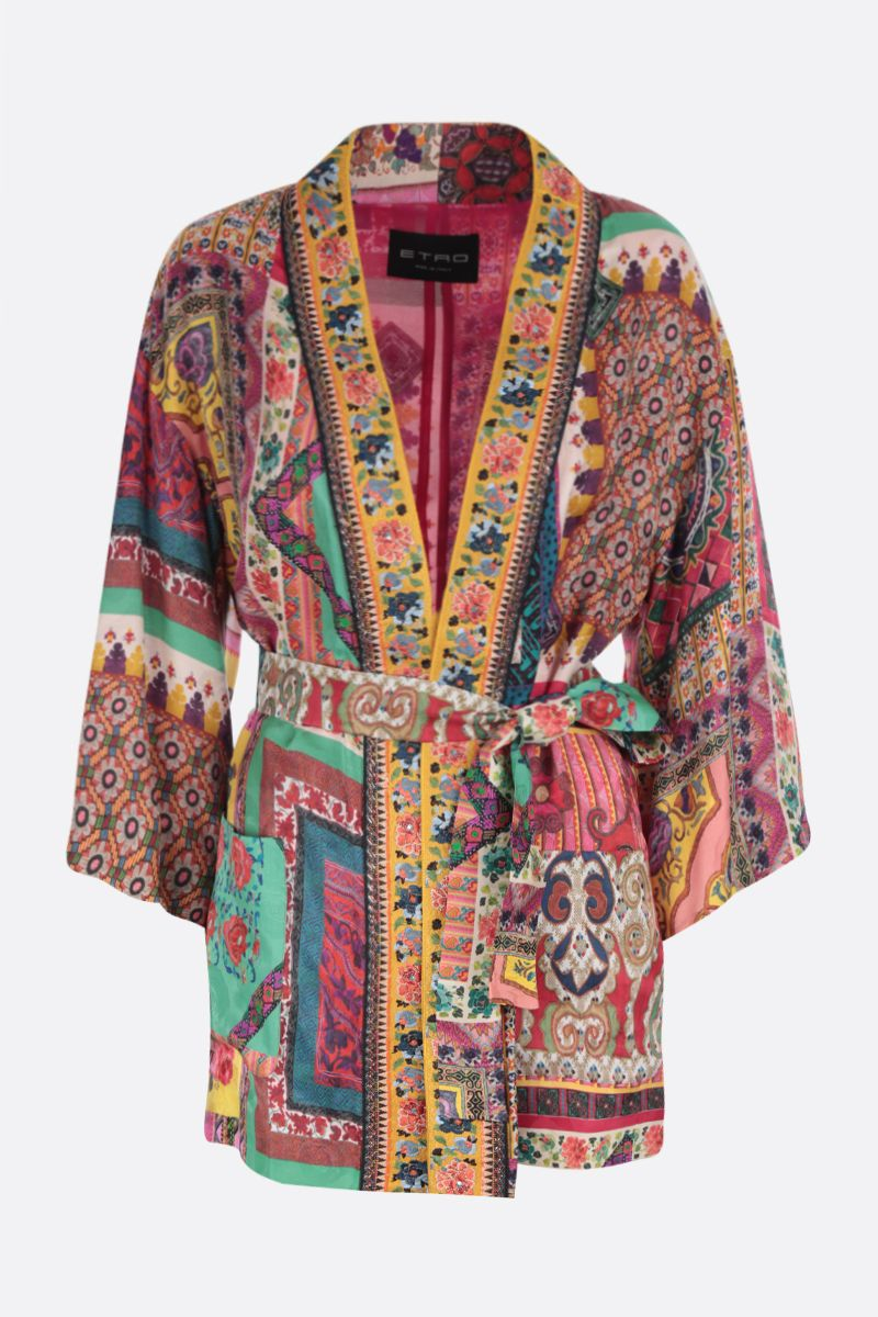 ETRO: patchwork print silk blend kimono jacket Color Multicolor_1