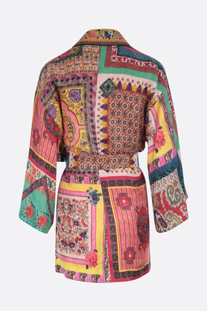 ETRO: patchwork print silk blend kimono jacket Color Multicolor_2