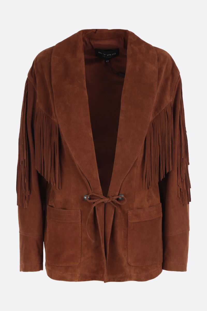 ETRO: oversized suede jacket Color Brown_1