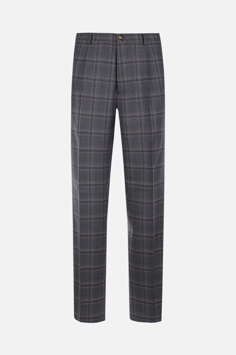 ETRO: easy-fit check wool pants Color Grey_1