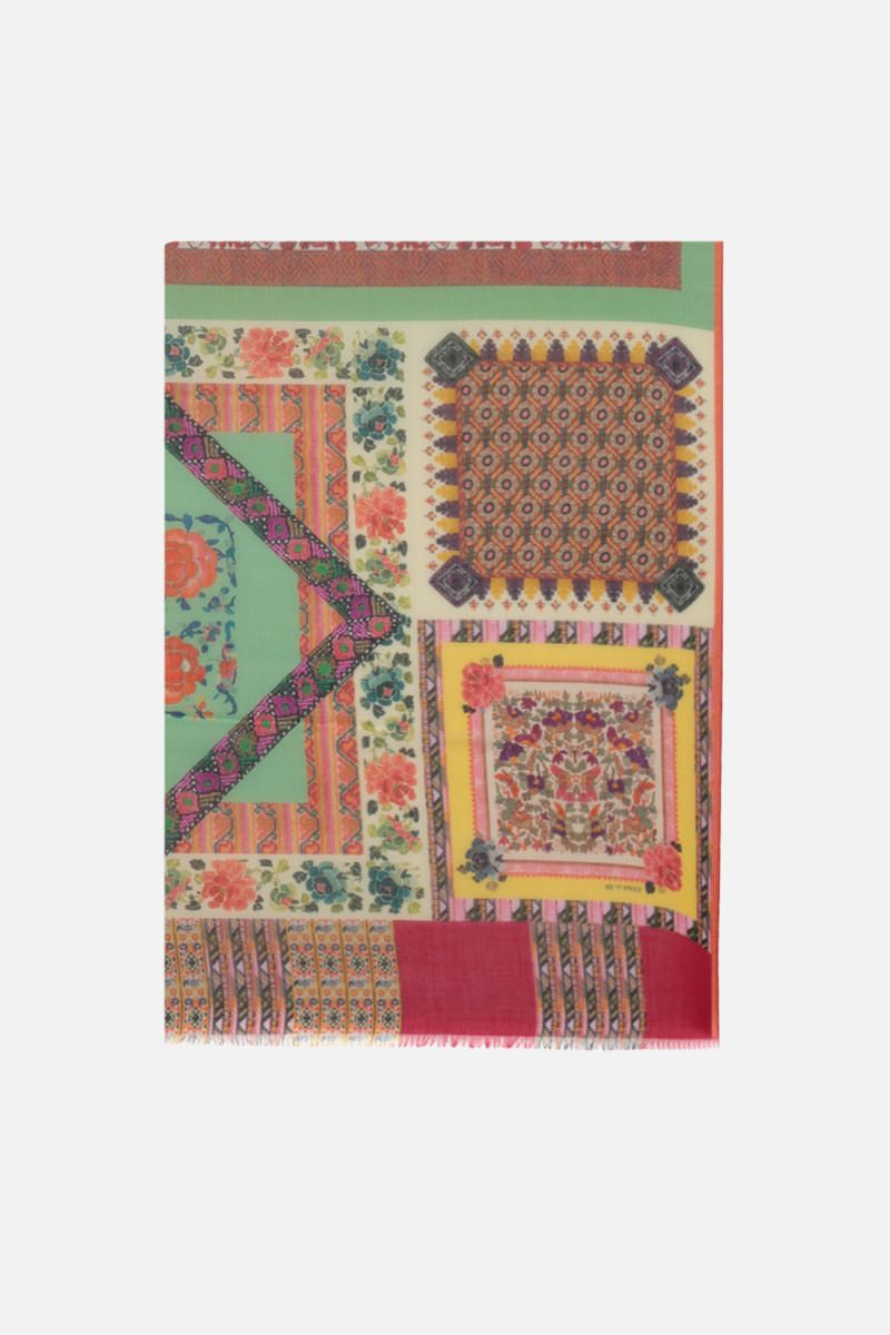 ETRO: patchwork print cashmere silk blend scarf Color Multicolor_1