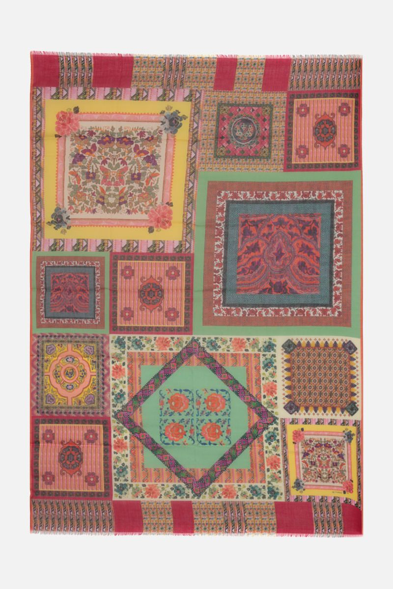 ETRO: patchwork print cashmere silk blend scarf Color Multicolor_2