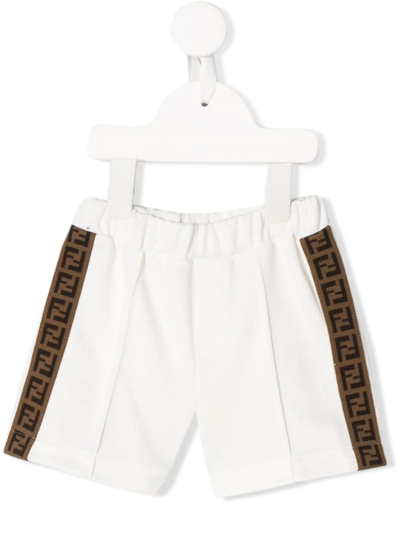 FENDI KIDS: FF bands cotton blend shorts Color Neutral_1