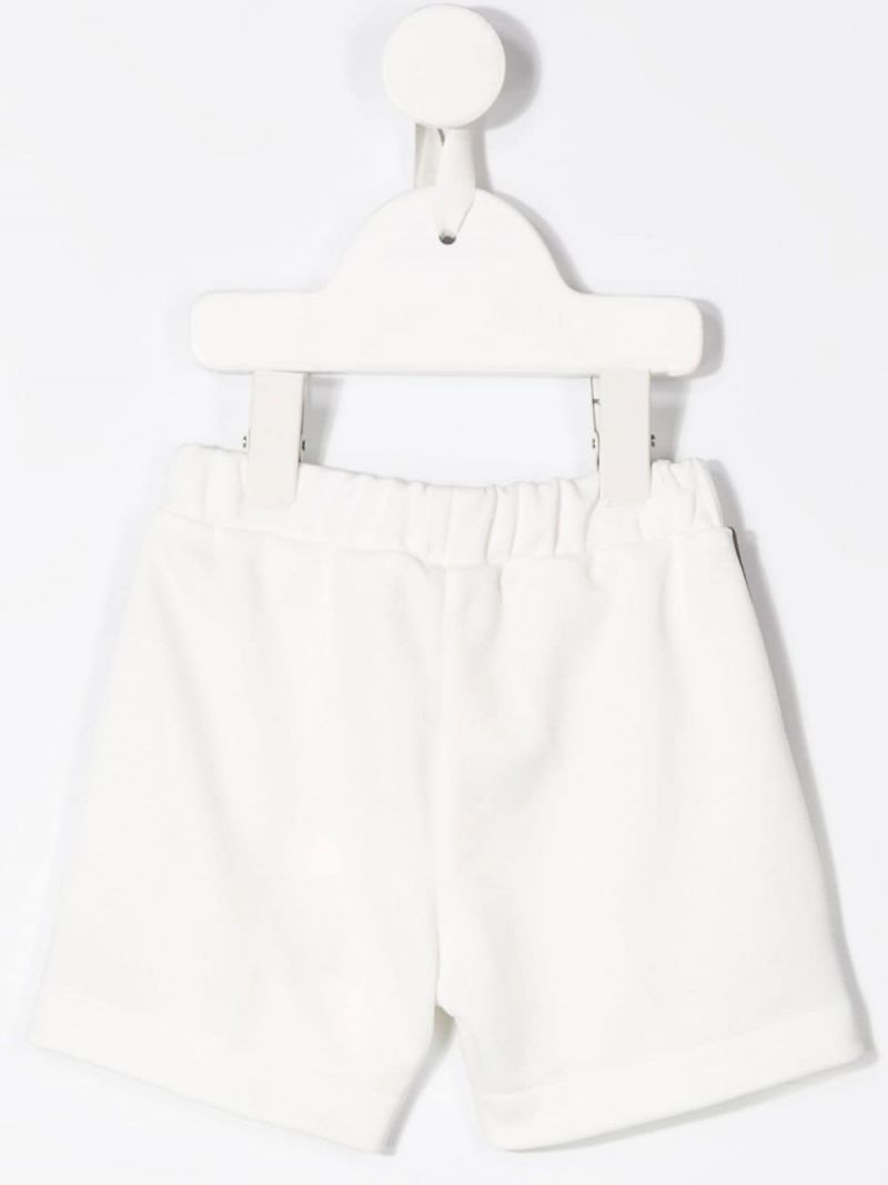 FENDI KIDS: FF bands cotton blend shorts Color Neutral_2