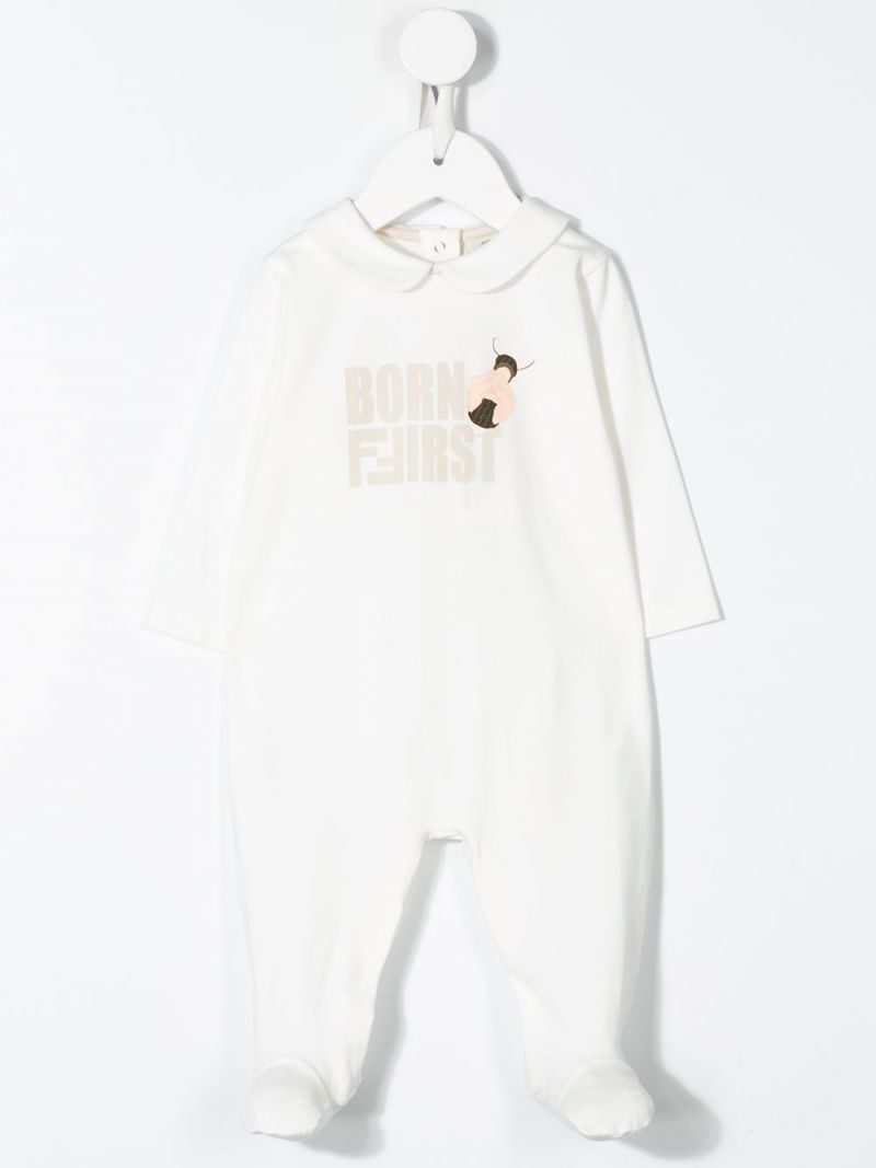 FENDI KIDS: cotton blend babygrow and beanie set Color Neutral_2