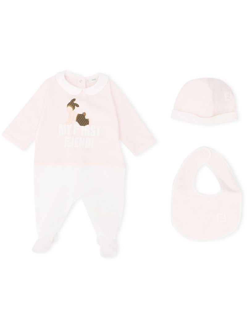 FENDI KIDS: babygrow, bib and beanie set in cotton blend_1