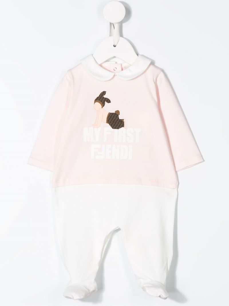 FENDI KIDS: babygrow, bib and beanie set in cotton blend_2