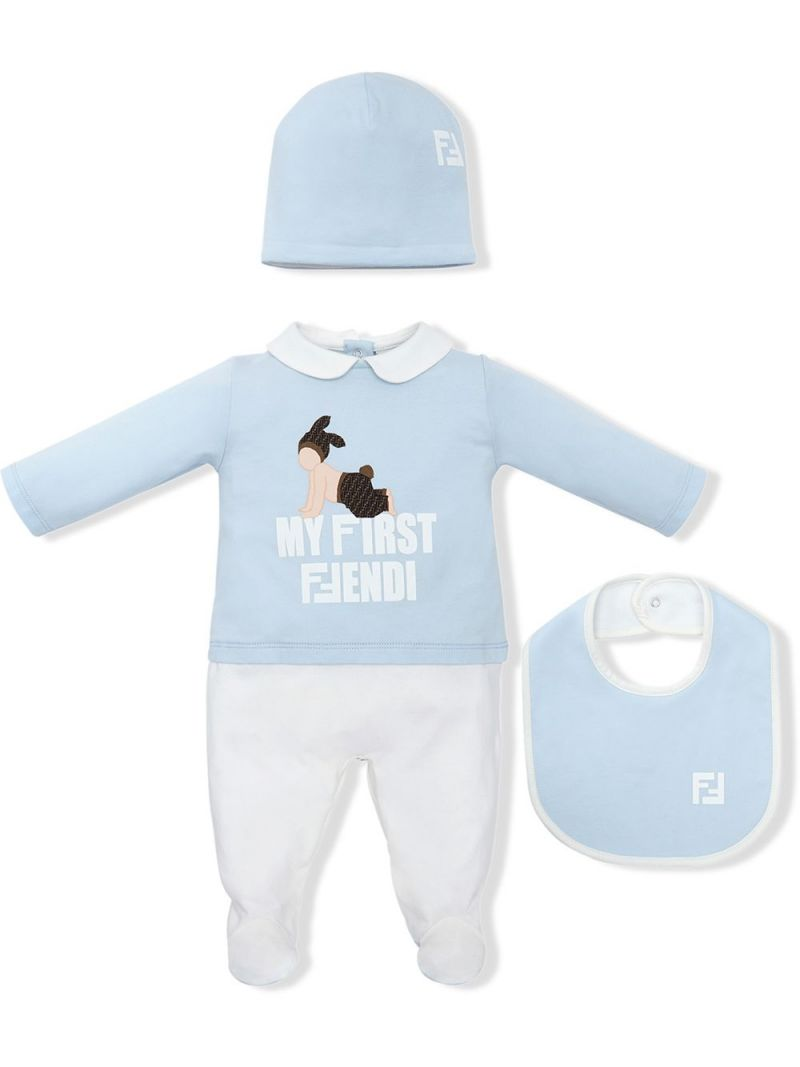 FENDI KIDS: three-piece gift set Color Blue_1