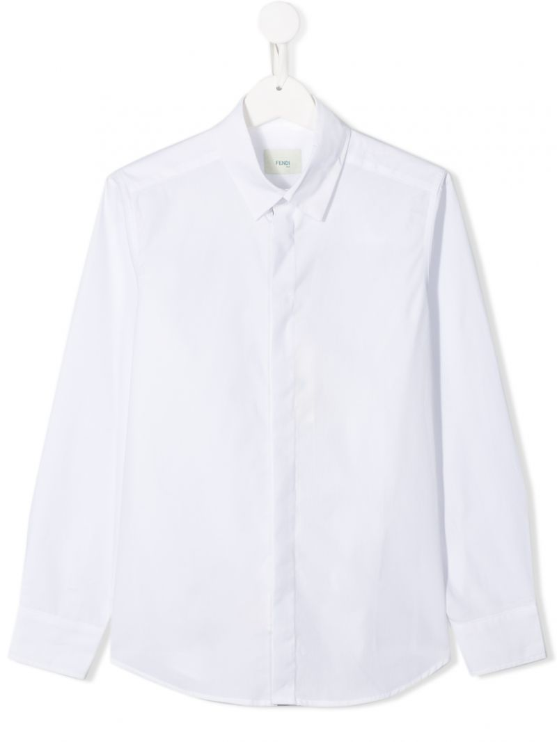 FENDI KIDS: cotton classic shirt Color White_1