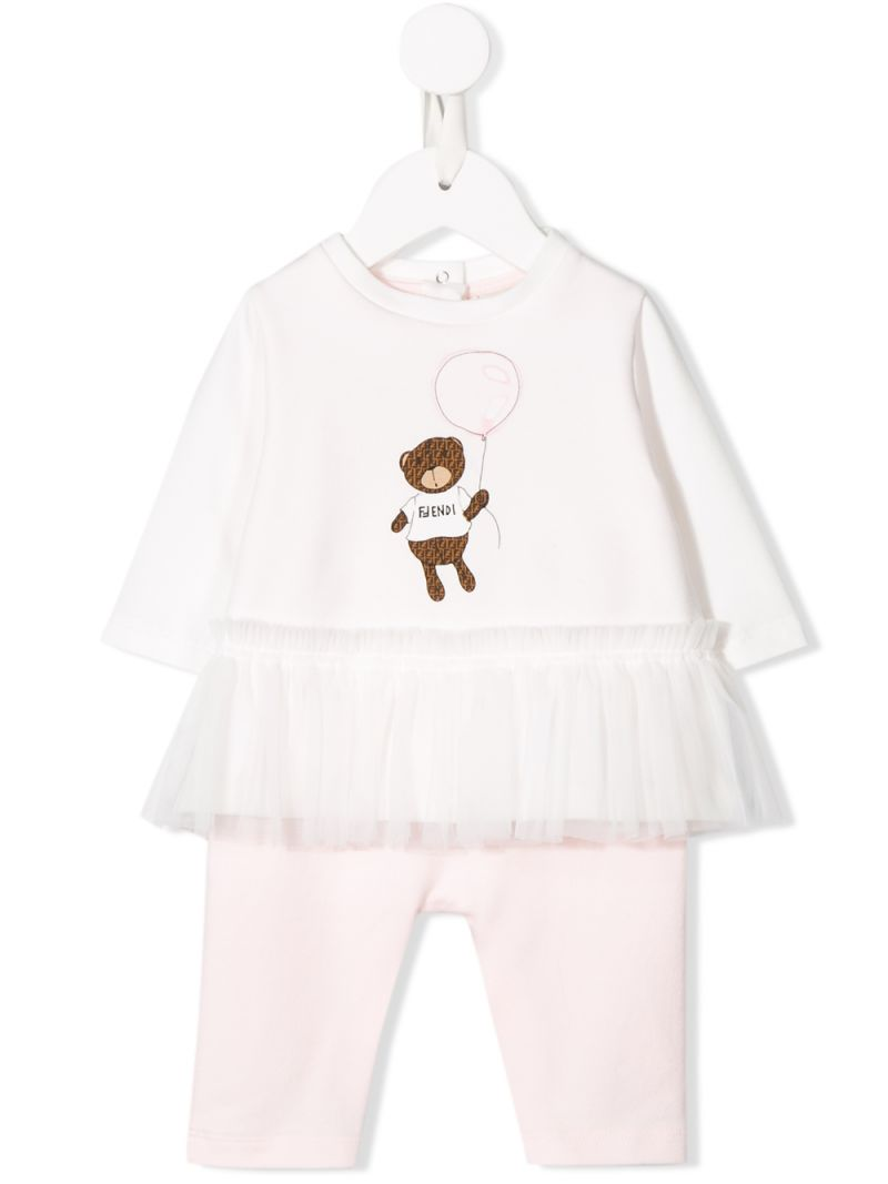 FENDI KIDS: bear print cotton blend babygrow_1