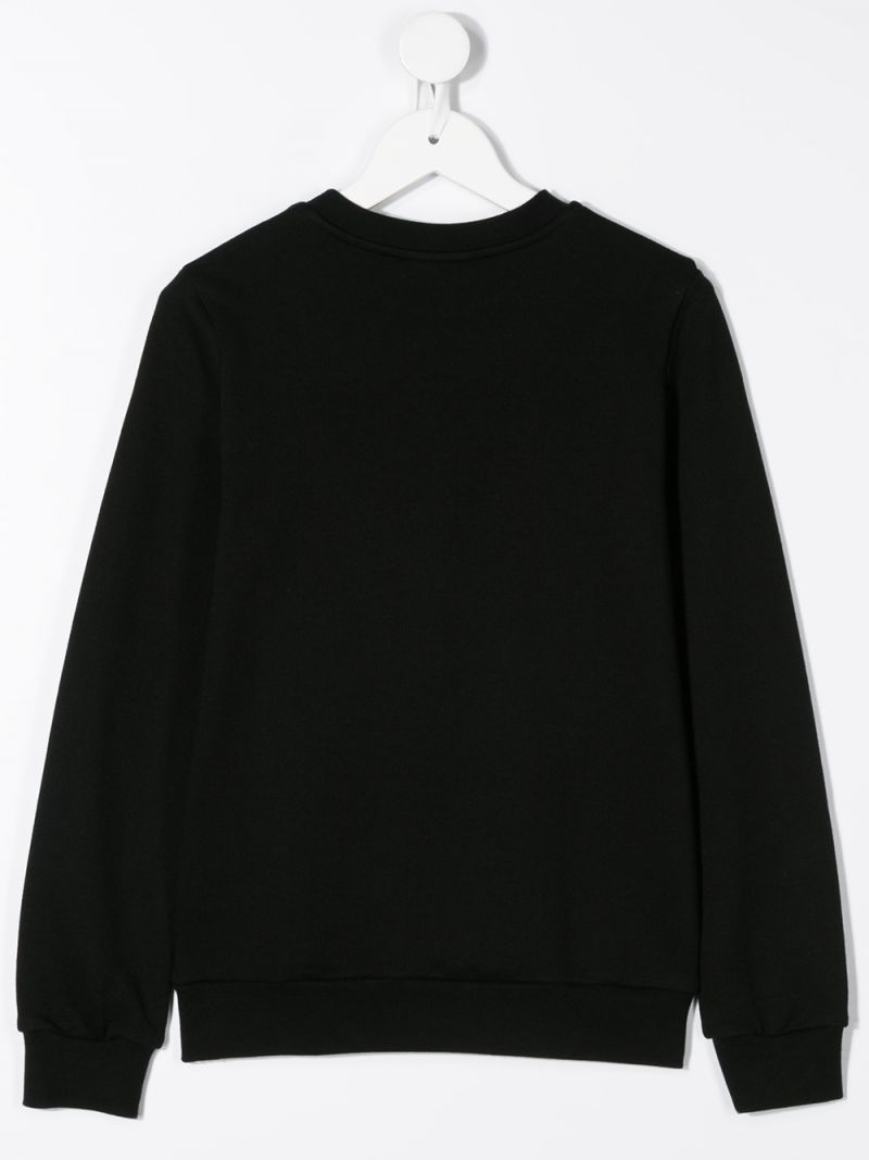 FENDI KIDS: Fendi Roma embroidered cotton sweatshirt Color Black_2