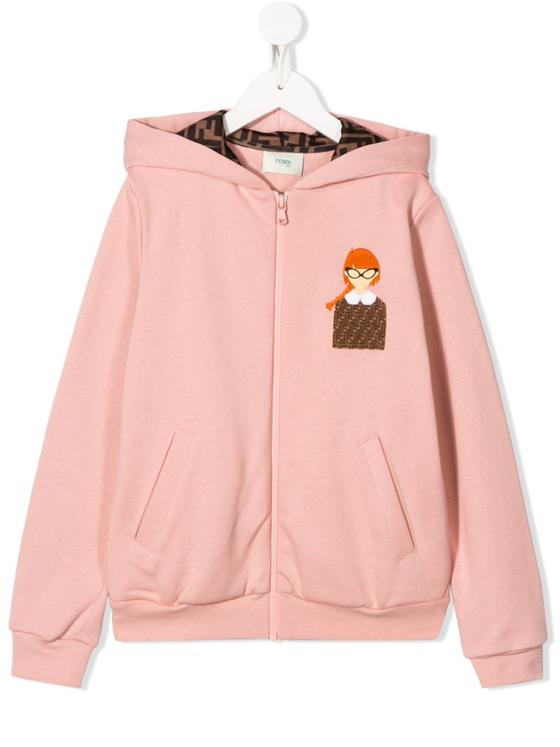 FENDI KIDS: graphic print cotton full-zip hoodie Color Multicolor_1