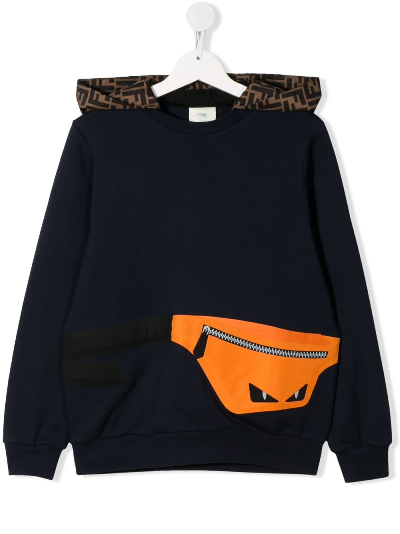 FENDI KIDS: Belt Bag print cotton hoodie Color Blue_1